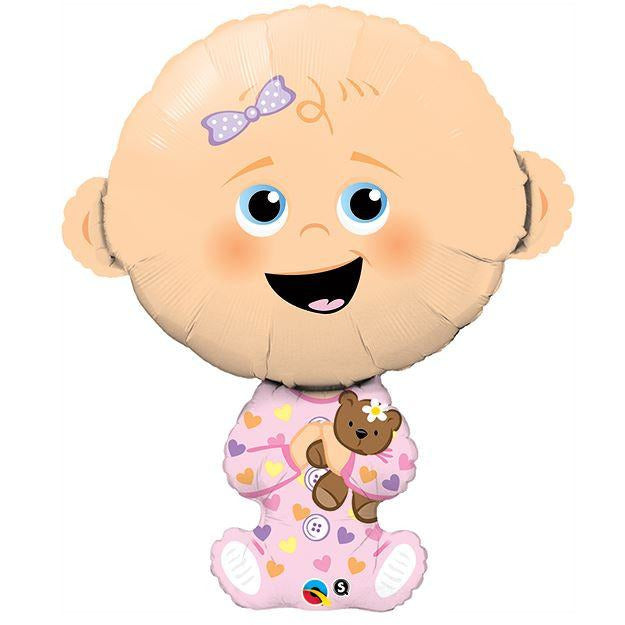 Qualatex Baby Girl With Teddy Shape 38""