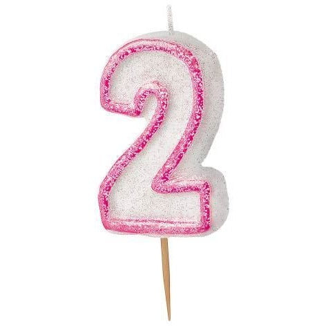 Birthday Pink Glitz Number 2 Numeral Candles