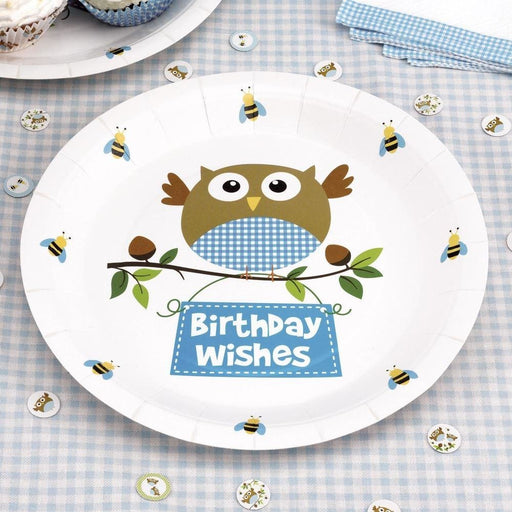 Little Owls - Plate - 8 - Blue