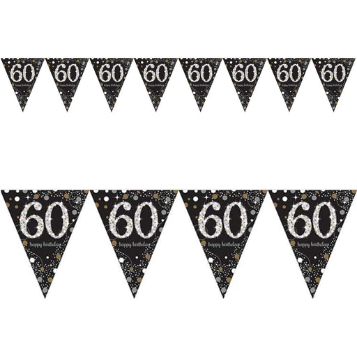 Amscan Gold Sparkling Pennant Bunting Age 60