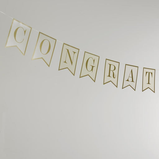 Contemporary Heart - Bunting - Congratulations - 15 Flags - Ivory/Gold