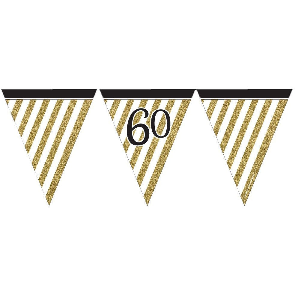 Black and Gold 60 Paper Flag Bunting