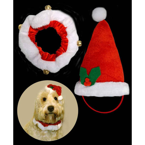 Davies santa pet hat and collar set - House Of Party