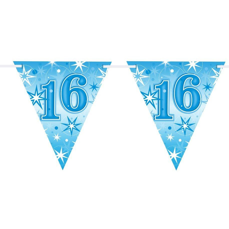 FLAG BANNER 160X190MM,  AGE 16 BLUE SPARKLE
