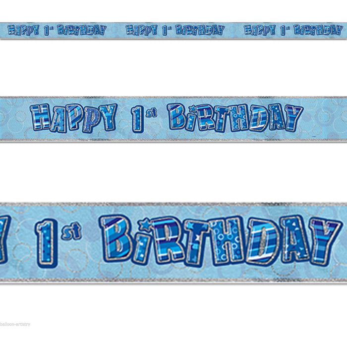 Glitz Blue 1st Foil Banner (9ft) (special price of 30p) (Also Upstairs)