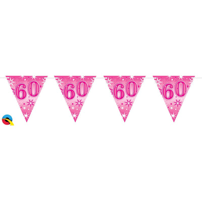 Qualatex Pink Sparkle Bunting Age 60