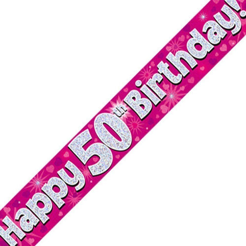 Pink Holographic Foil Birthday Age 50 Banner. Happy 50th Birthday Banner - Wholesale
