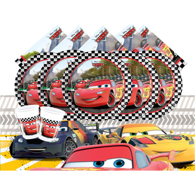 Cars set for 16- Includes 16 cups , 16 Paper Plates, 16 Napkins, 1 Table cover