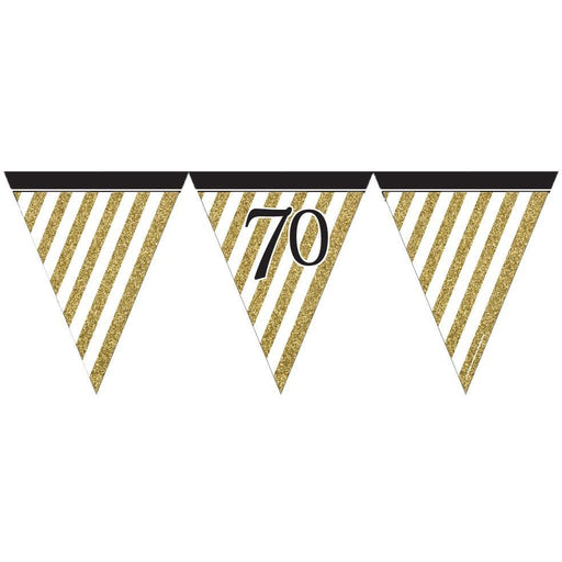 Black and Gold 70 Paper Flag Bunting