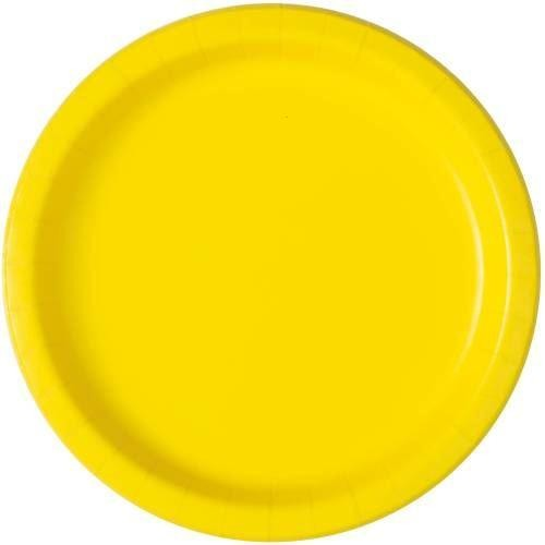 "Neon Yellow Solid Round 9"" Dinner Plates, 16ct"