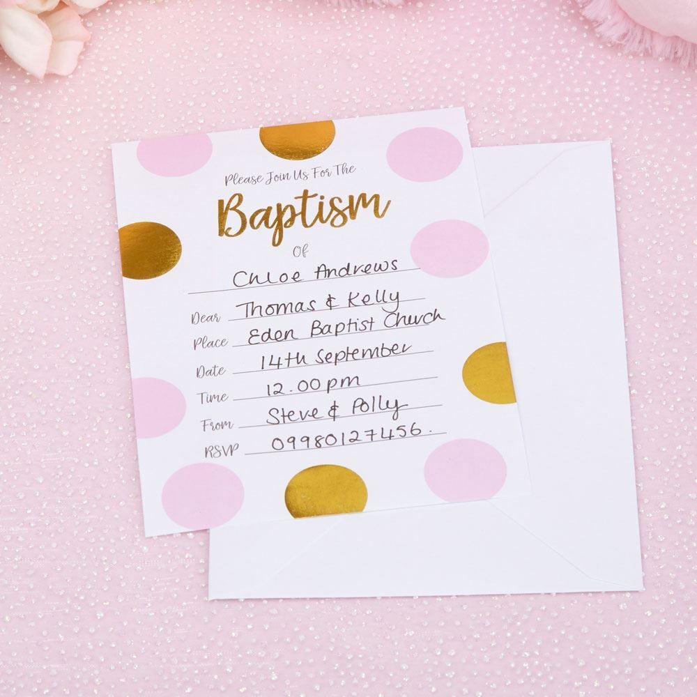 Pattern Works - Baptism Invitations with Envelopes Pink - 10