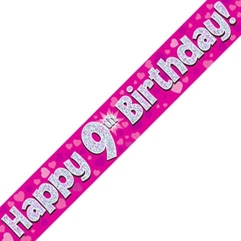 Pink Holographic Foil Birthday Age 9 Banner. Happy 9th Birthday Banner - Wholesale
