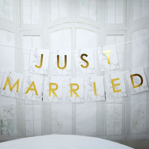 Scripted Marble - Just Married Bunting - Large