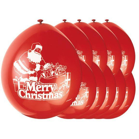 Merry Christmas Santa Latex Balloons Pack (red)