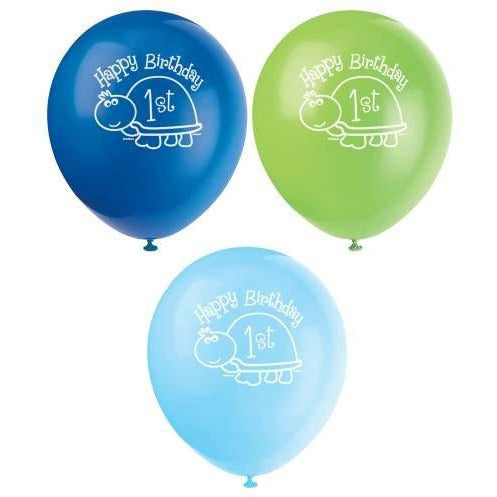 First Birthday Turtle Latex Balloons