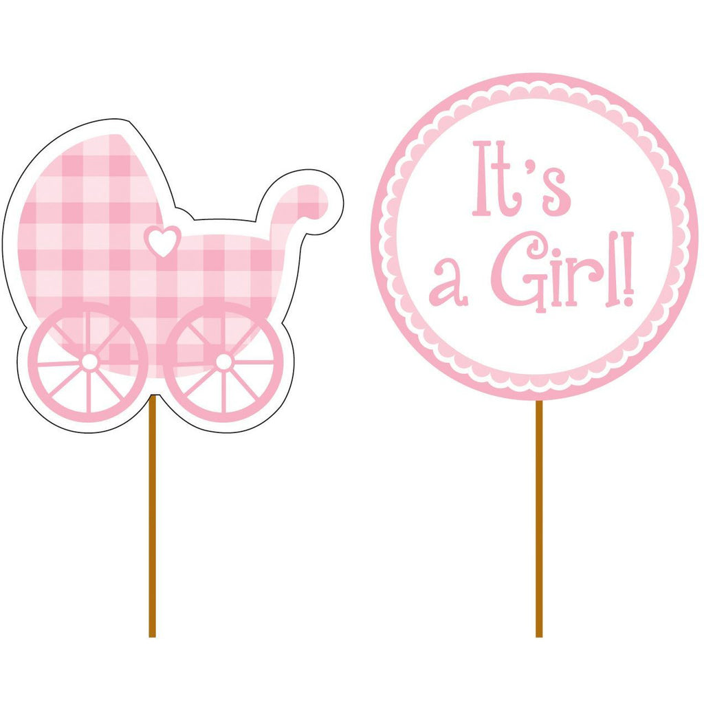 New Baby It's A Girl Cupcake Topper Picks x 12 - 2 Designs