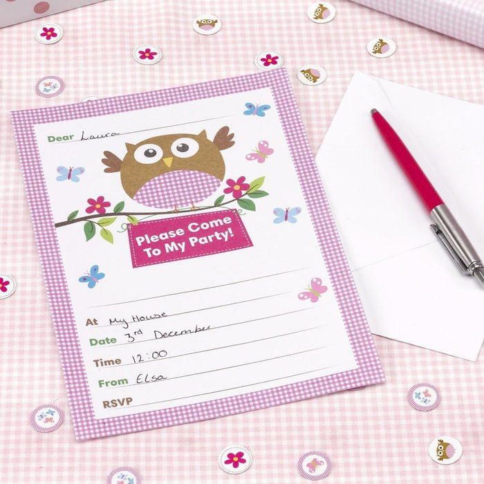 Little Owl Invitations Pink - END OF LINE (CLR:4)