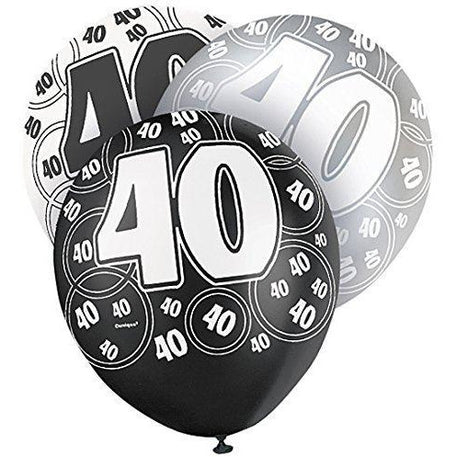 Black Glitz 40 Latex Balloons (Special price of 65p)