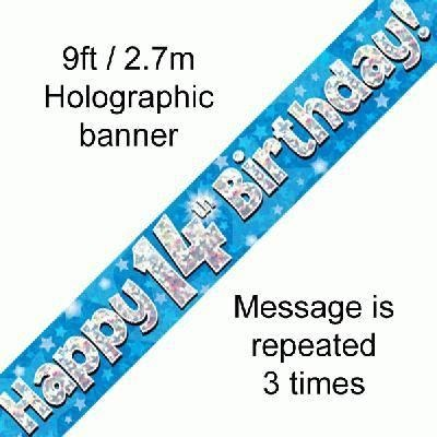 Blue Holographic Foil Birthday Age 14 Banner. Happy 14th Birthday Banner