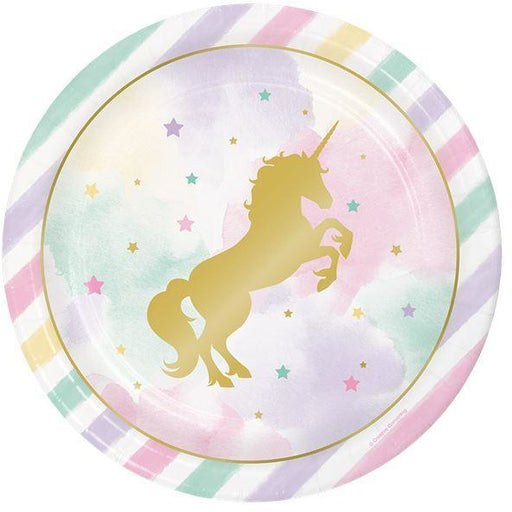 "Unicorn Sparkle Plates 9"" Foil Stamp 8ct"