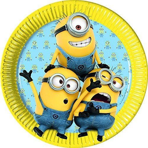 PLATES PAPER LARGE 23CM 8CT,  LOVELY MINIONS
