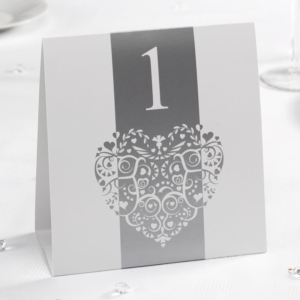 Vintage Romance - Table Numbers - White/Silver