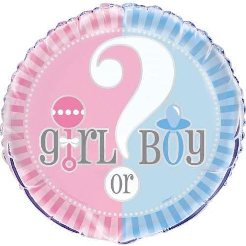 "Gender Reveal Round Foil Balloon 18"", Packaged"