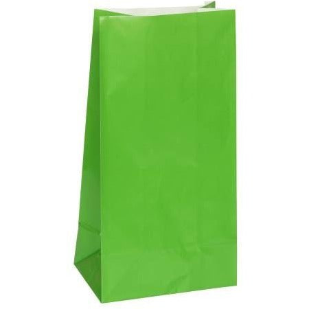 Green Paper Party Bags, 12ct (special price of 52p when ordered in 72) (Also Upstairs)