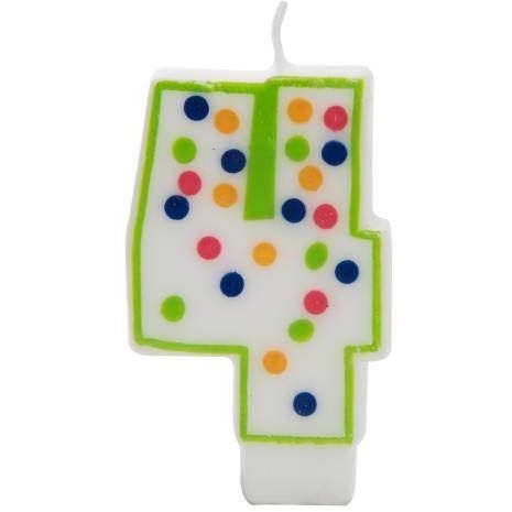 Number 4 Polka Dot Birthday Candle
