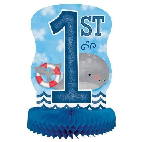 Little Sailor Nautical First Birthday Honeycomb Centerpiece, 14""