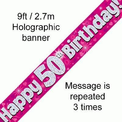 Pink Holographic Foil Banner,50th Birthday