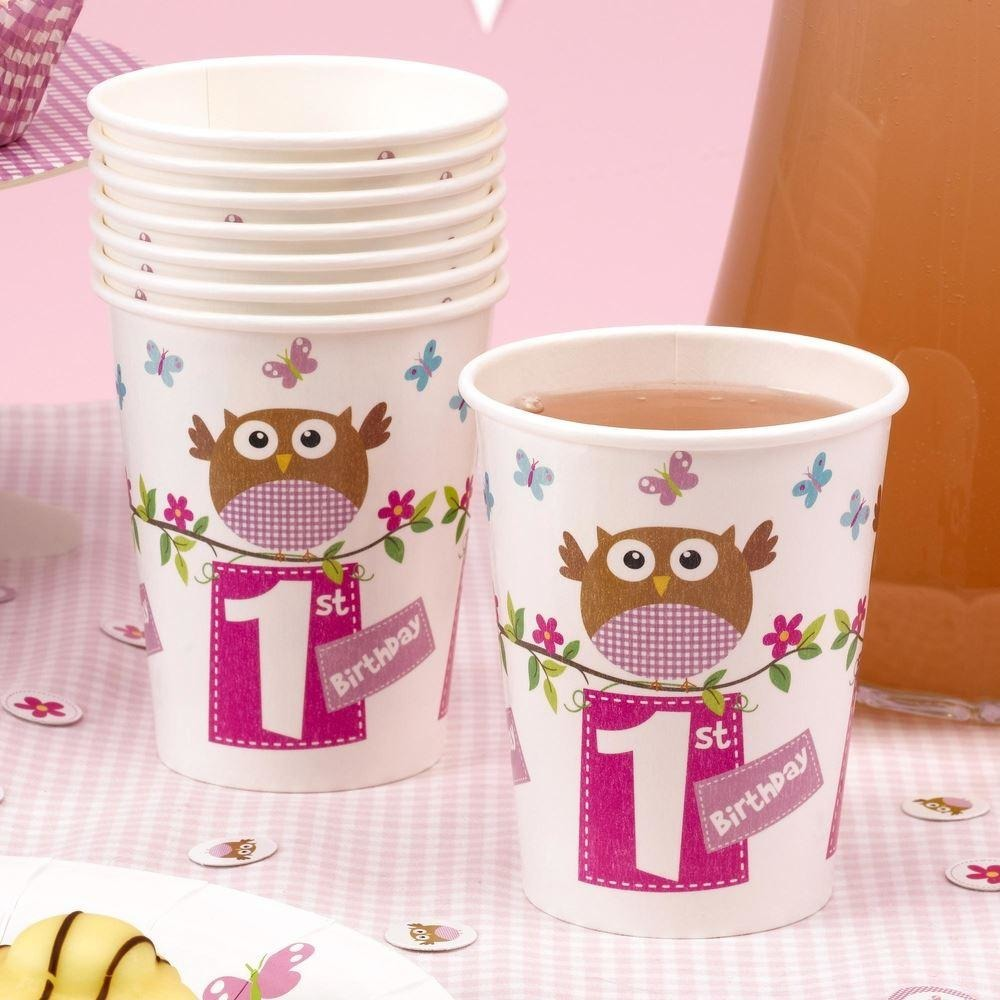 Little Owls - 1st Birthday Cup - 8 - Pink