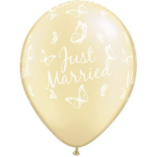 "Just Married Butterflies 11"" Pearl Ivory X5"