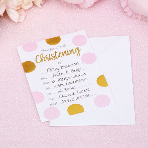 Pattern Works - Christening Invitations with Envelopes Pink