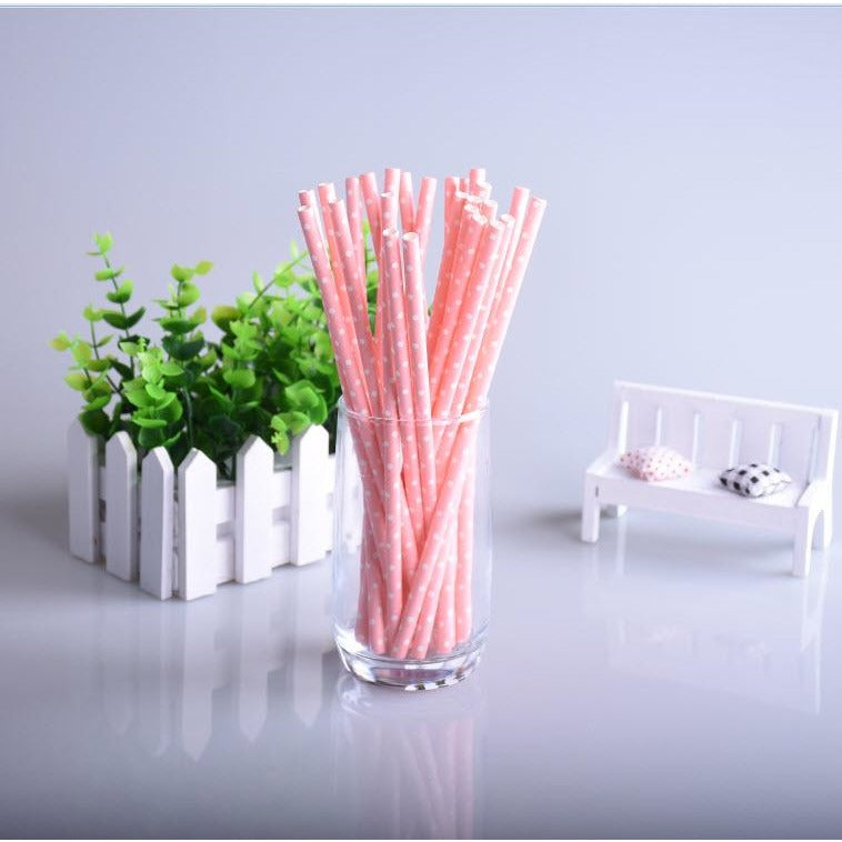 Lovely Pink  Polka Dots - Paper Straws