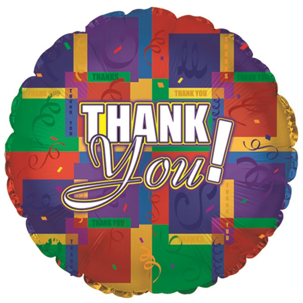 Thank You Colourful Squares Foil Balloon