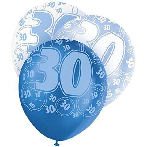Blue Glitz Latex Balloons Age 30 (Special price of 65p)