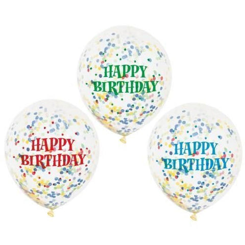 "12"" Clear Happy Birthday Multi Coloured Confetti Filled Balloons"