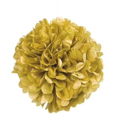 "Gold Solid 16"" Hanging Tissue Pom Pom"