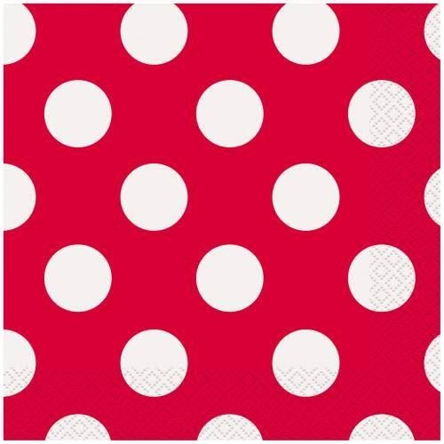 16 Ruby Red Dots Lunch Napkins