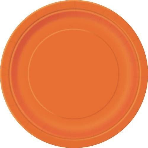 "Pumpkin Orange Solid Round 9"" Dinner Plates, 16ct"