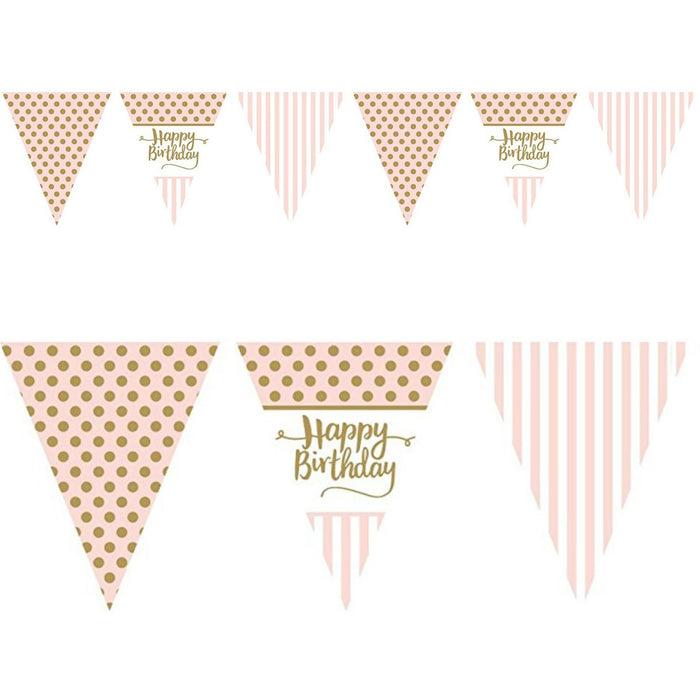 Pink Chic Happy Birthday Pink Metalic Flag Bunting