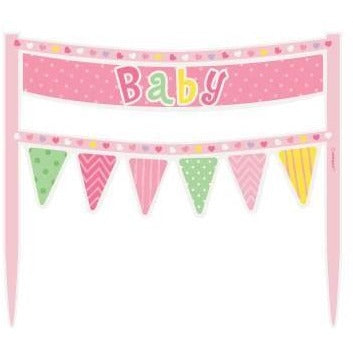 Pink Dots Baby Shower Cake Bunting