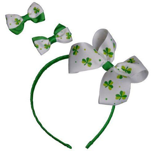 St Patricks Day Hairband and Bow Clips Davies