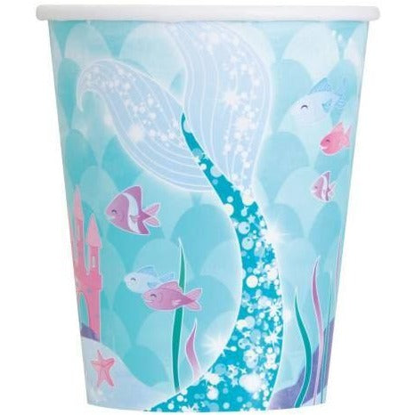 Unique Mermaid Swim 9oz Paper Cups, 8ct