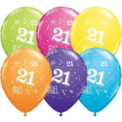 Birthday Latex Balloons Age 21 Retail Pack