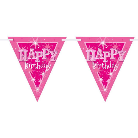 FLAG BANNER 160X190MM,  HAPPY BDAY PINK SPARKLE