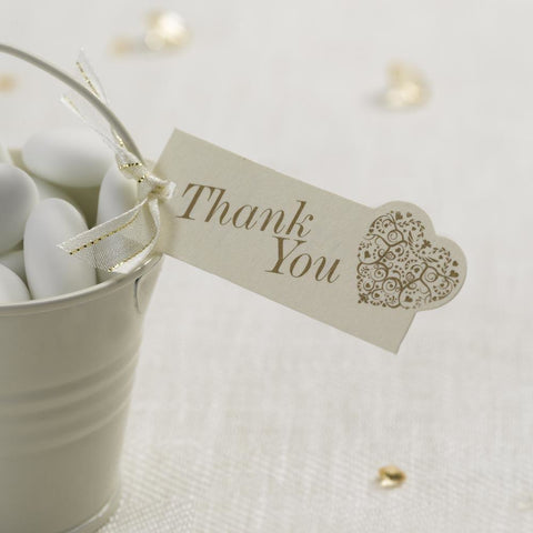 Vintage Romance - Luggage Tags - 10 - Thank You - Ivory/Gold