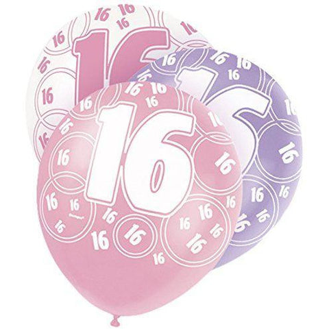 Pink Glitz Latex Balloons Age 16 (Special price of 65p)