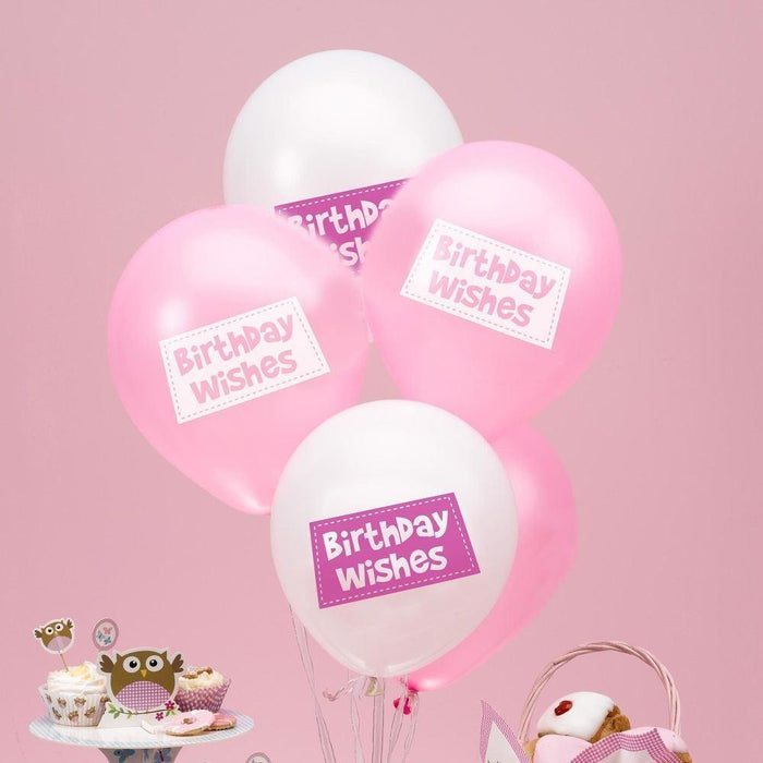 Little Owls - Birthday Wishes Balloons - 8 - Pink